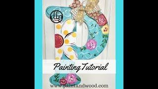 Spring Floral Painted Monogram Door Hanger
