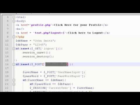 PHP Tutorial Video 19: Login Form 6: Making a Logout buttun
