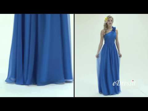 Floral One Shoulder Blue Bridesmaid Dress