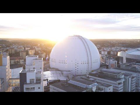 2564. Globen (Stockholm Globe Arena) Drone Stock Footage Video