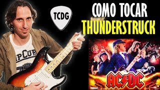 Aprender como tocar Thunderstruck (AC/DC) en guitarra acordes notas clases curso TCDG