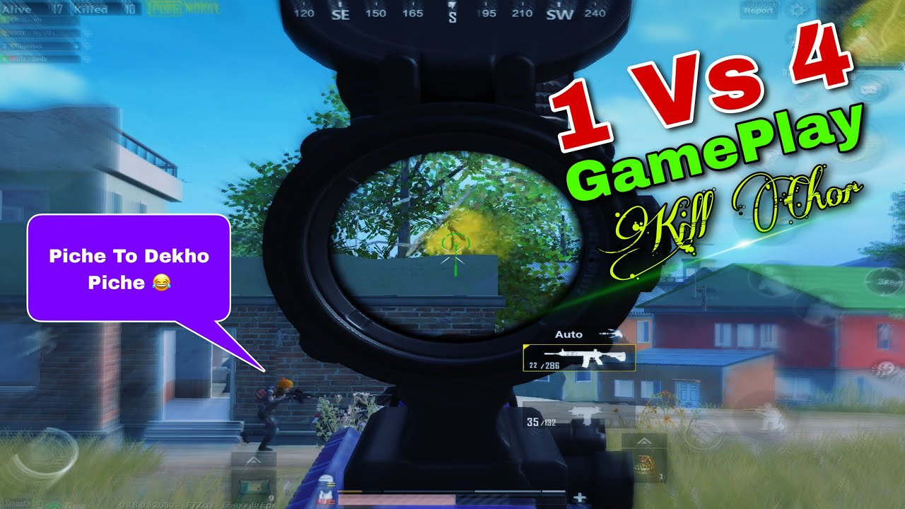 Pubg Mobile New Full Rush Gameplay | 1 vs 4 Gameplay Pubg Mobile Kill Chor