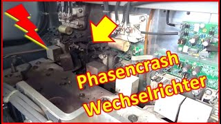 That messed up the whole day - explosion in the inverter due to a phase crash - emergency shutdown