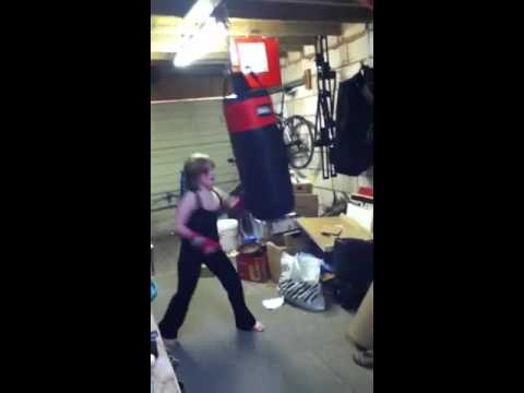 10 Year Old Beating Up A Punch Bag
