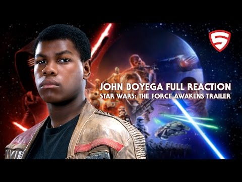John Boyega reacts to seeing himself in the Star Wars: The Force Awakens Trailer for the first time