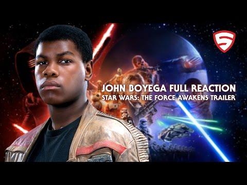 John Boyega's Full Reaction to the Star Wars: The Force Awakens Trailer (Official)