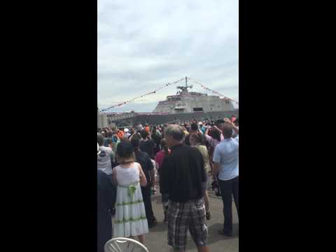 Christening and launch of LCS 9 USS Little Rock