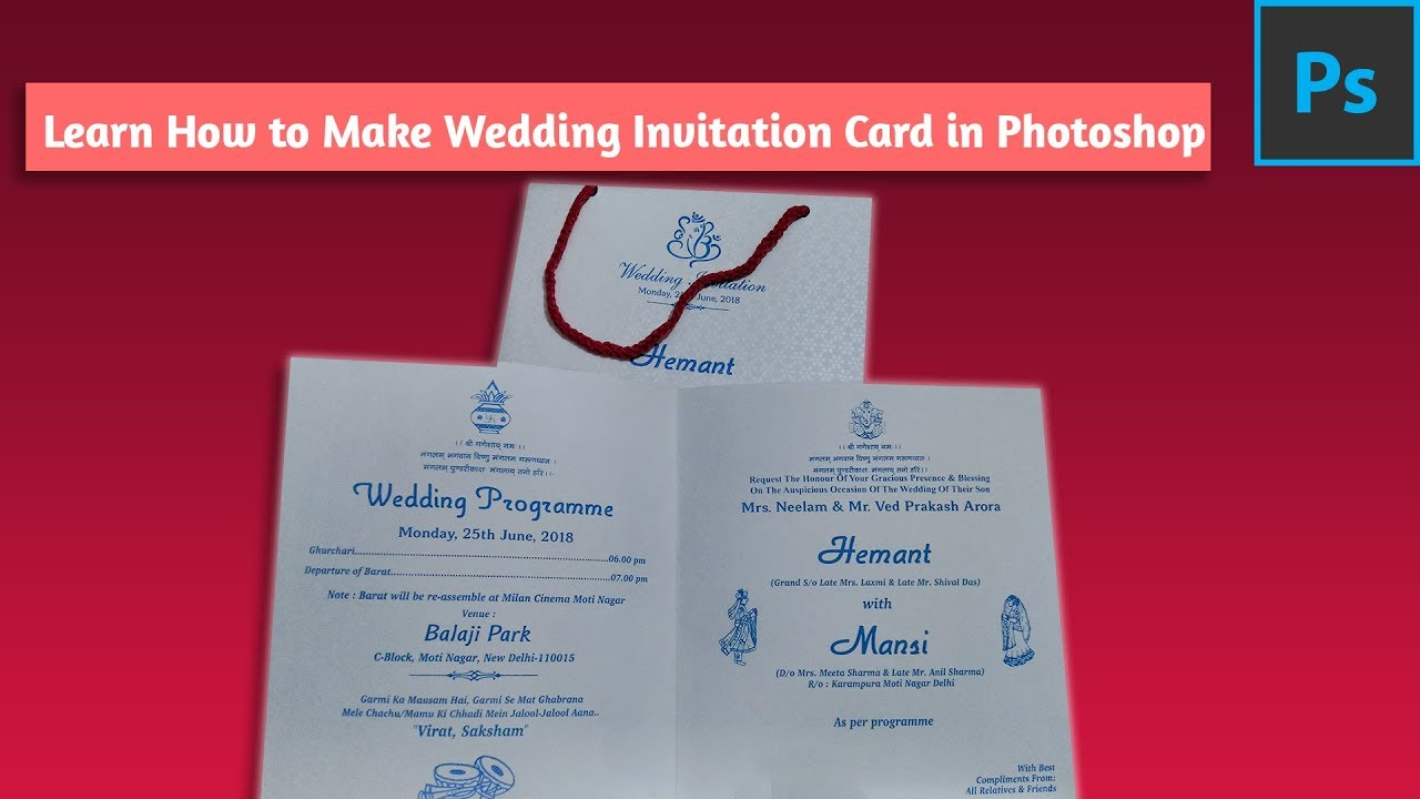 Learn How to make Wedding Invitation Card Easily in Photoshop - YouTube