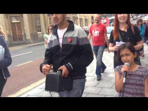 Khadija Ali Khan leading Peace March about Palestine City c