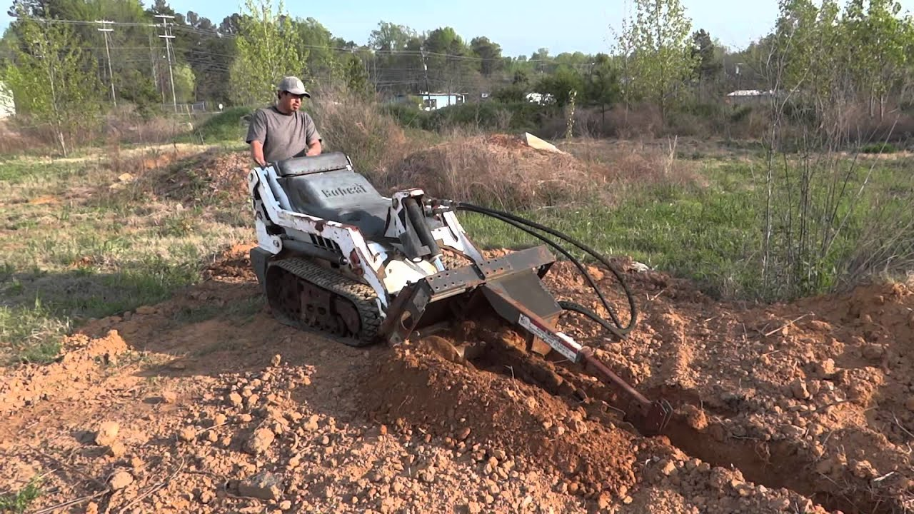 Bobcat MT-50 Mini Track Loader With Trencher Attachment (HD) - YouTube