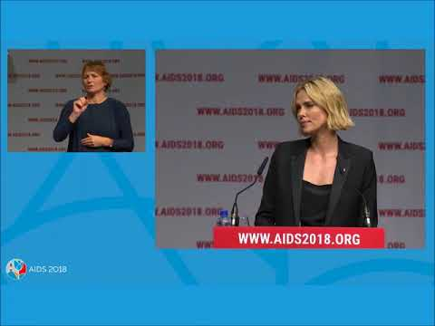 Charlize Theron speaking at AIDS 2018