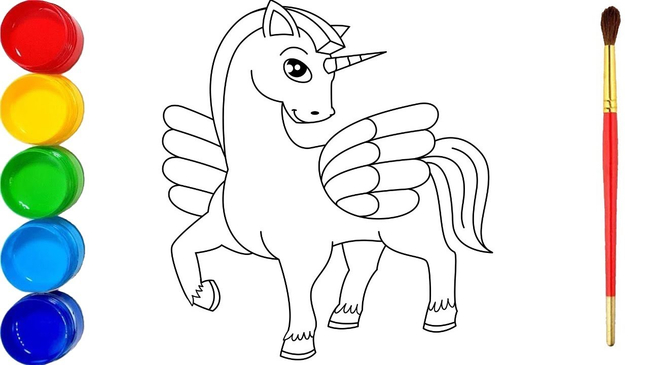 Easy drawing for kids | Draw and color cartoon horse ...