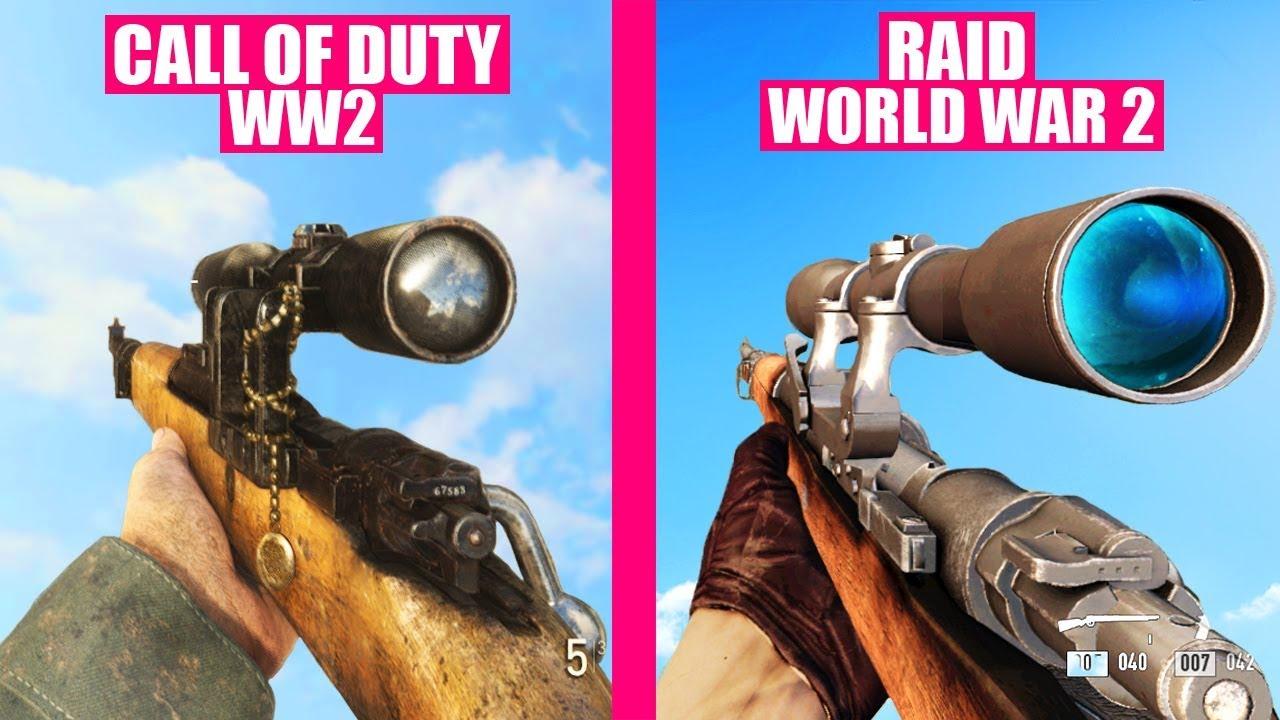 Call of Duty WW2 Gun Sounds vs RAID World War II