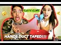 FLUFFY SLIME CHALLENGE!!!! (HANDS DUCT TAPED)!!!