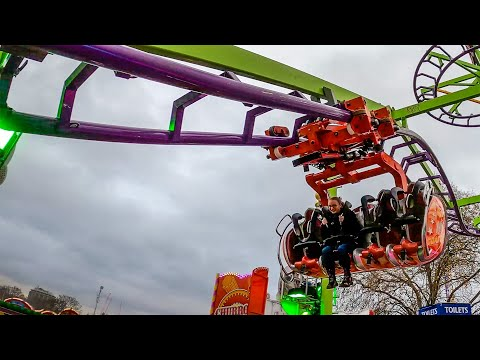 WEIRD Suspended Roller Coaster! 4K POV Euro Coaster Traveling Fair Inverted Wild Mouse!
