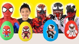 Spiderman Kid  Venom Play Doh Surprise Eggs Superhero Marvel Kids toys video playtime costume runway