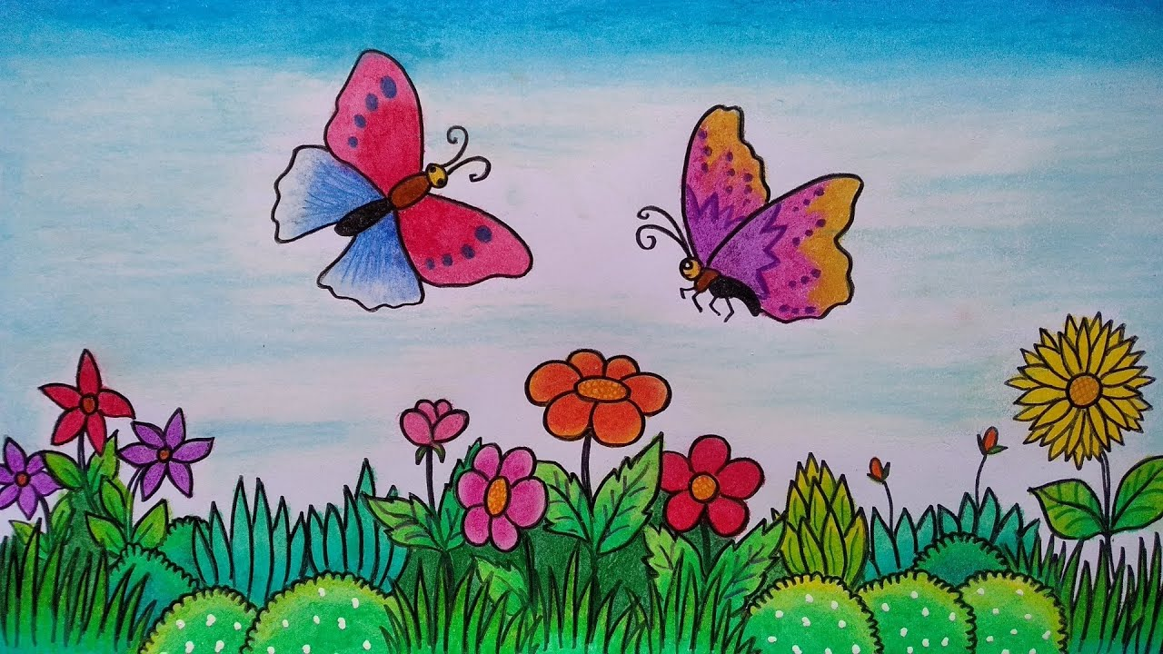 Menggambar Kupu Kupu Dan Bunga Menggambar Taman Bunga Yang Indah Youtube