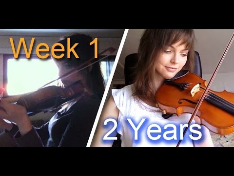 Girl films her progress learning the violin every week for two years