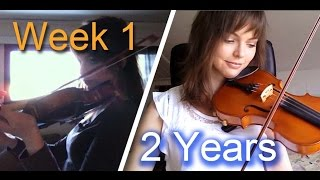 Adult beginner violinist - 2 years progress video(I'm a 24 year old adult beginner from Norway, and I wanted to see if it was possible to learn to play the violin as an adult. This video is a collection of all the ..., 2015-07-05T22:46:38.000Z)
