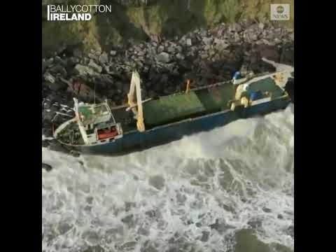 Ireland's coast guard warned the public to keep away from a cargo ship that washed up on the coast