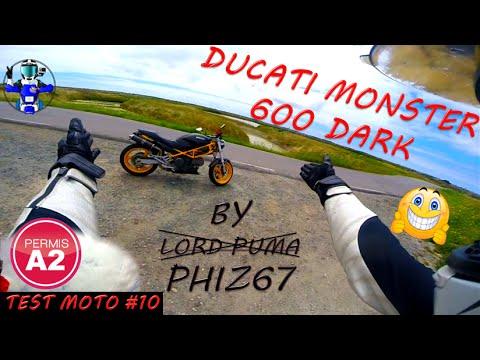 test moto 10 ducati monster 600 dark permis a2 youtube. Black Bedroom Furniture Sets. Home Design Ideas