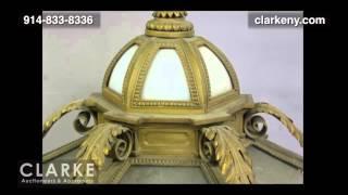 Large Bronze Lantern Style Chandelier   Bronze Chandelier   Furniture   Clarke Auction Gallery