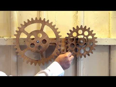 Mechanical Wall Art with 3 Rotating Wooden Gears