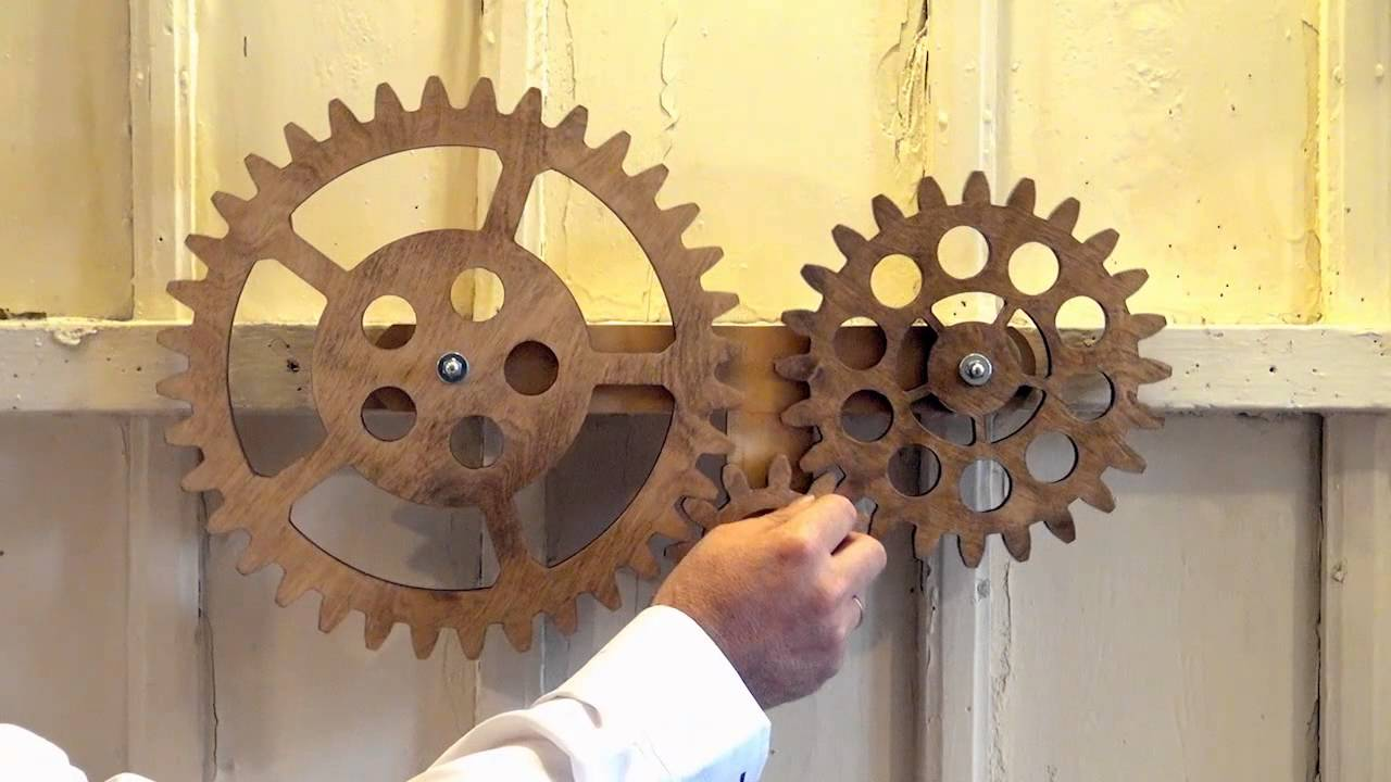 Mechanical Wall Art with 3 Rotating Wooden Gears YouTube