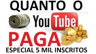 Quanto ganha um youtuber com 5k de inscritos (video comemorativo), abraços aos seguidores!