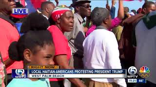 Haitian community protests President Trump in Palm Beach County