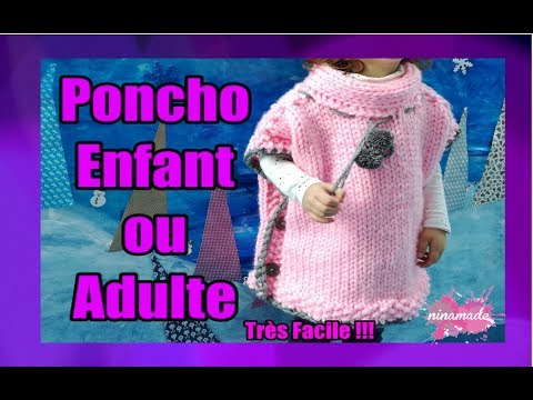 DIY. Poncho à Deux Aiguilles Enfant ou Adulte// Poncho With Two Needles Girl or Adult