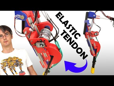 Testing a Jumping Robot Leg with Elastic Tendon | James Bruton