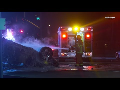 Jurupa Valley: Two Critically Injured in Fiery Rollover Crash