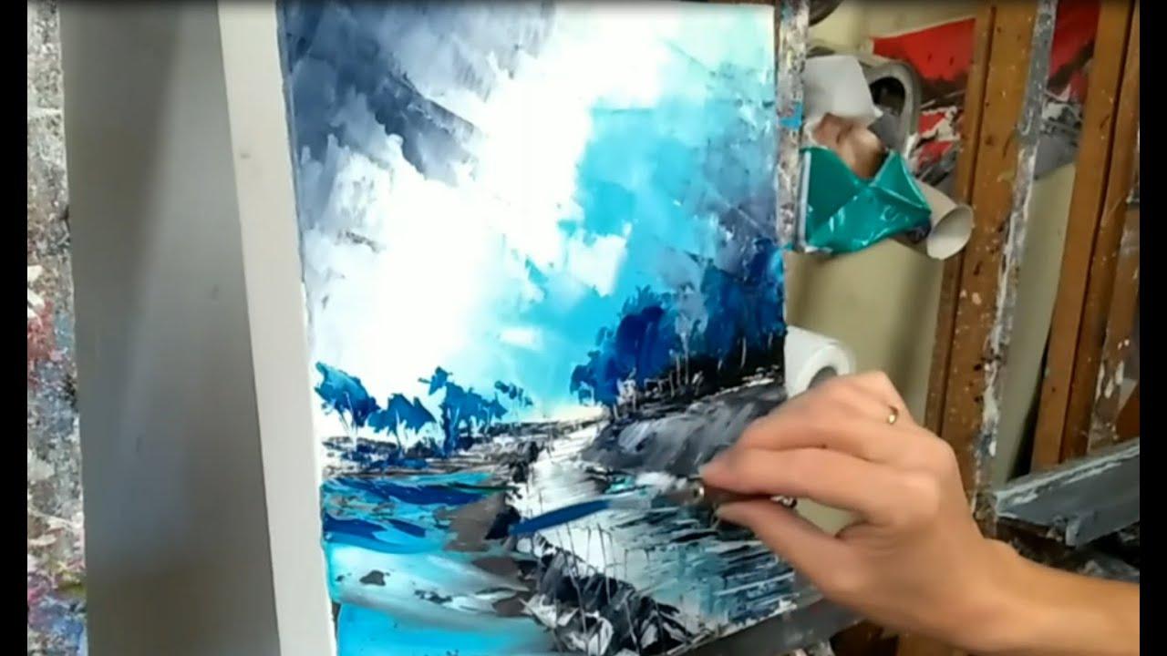 Tuto Peinture Au Couteau Paysage Abstrait Par Nelly Lestrade Youtube
