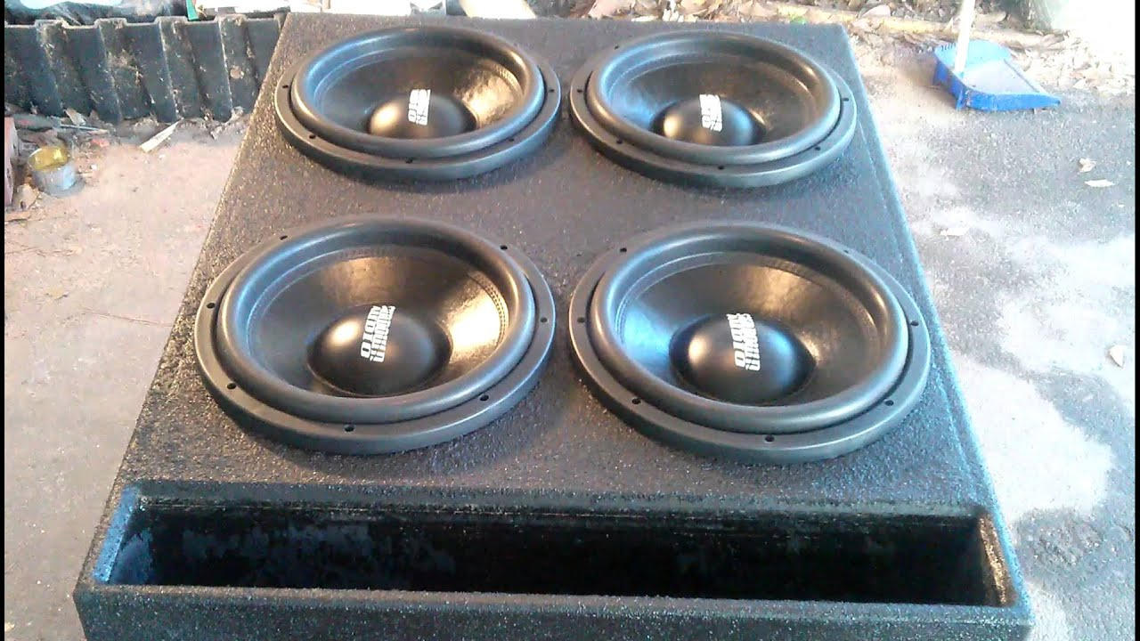 How To Build A Sub Box >> Crown Vic speaker box! Four 12s!!!! - YouTube