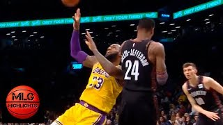 LeBron James spin & circus shot ! Lakers vs Nets