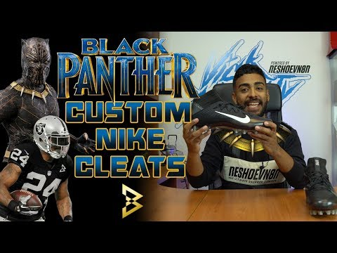Custom Black Panther Killmonger Nike Cleats For Marshawn Lynch By Vick Almighty   Reshoevn8r