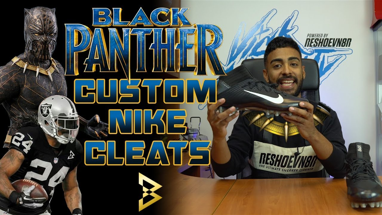 Custom Black Panther Killmonger Nike Cleats for Marshawn Lynch by Vick Almighty | Reshoevn8r