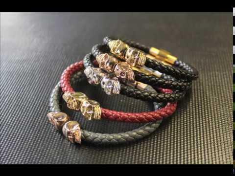 North Skull Nappa Leather 18kt Gold Twin Skull Bracelet