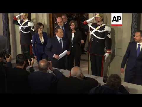 Berlusconi arrives as Italian parties try to form a government