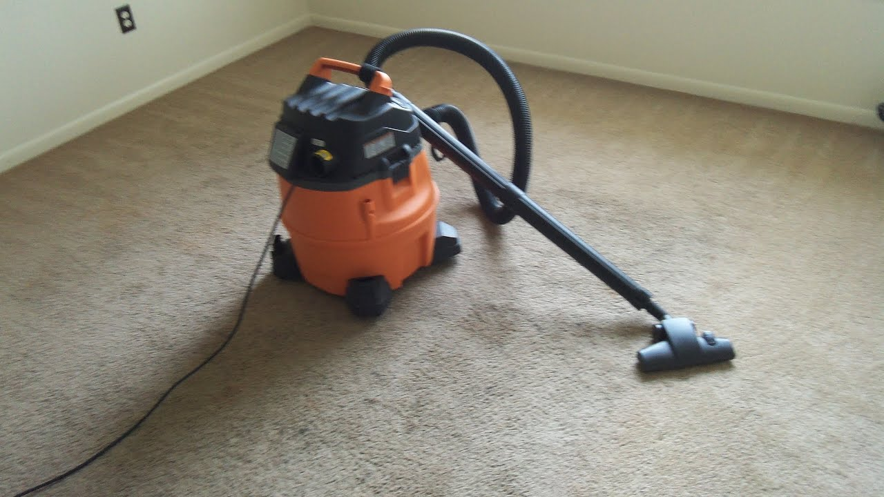Ridgid WD1450 Wet Dry Vac and Carpet and Hard Floor Nozzle Vacuuming