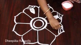 creative freehand muggulu design without dots * easy rangoli design * latest kolam for festival