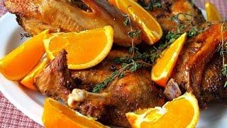Рецепт: Рождественская утка с яблоками в духовке