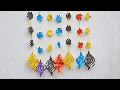 Easy wall hanging with paper | Wall hanging craft ideas | Wall decoration ideas with paper