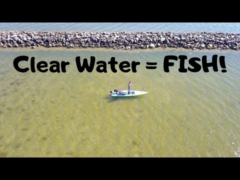 CLEAR Water = LOTS Of FISH! (Solo Skiff Galveston Bay Fishing)