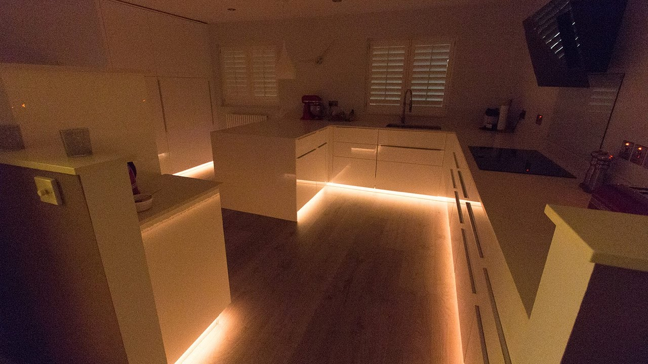 Plinth Lighting For Kitchens Rgbw Leds Installed For Kitchen Plinth Highlights Youtube