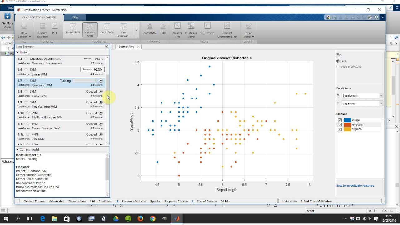 Classifciation App (Classification learner) in Matlab  Trees, SVMS KNN ADA  boost