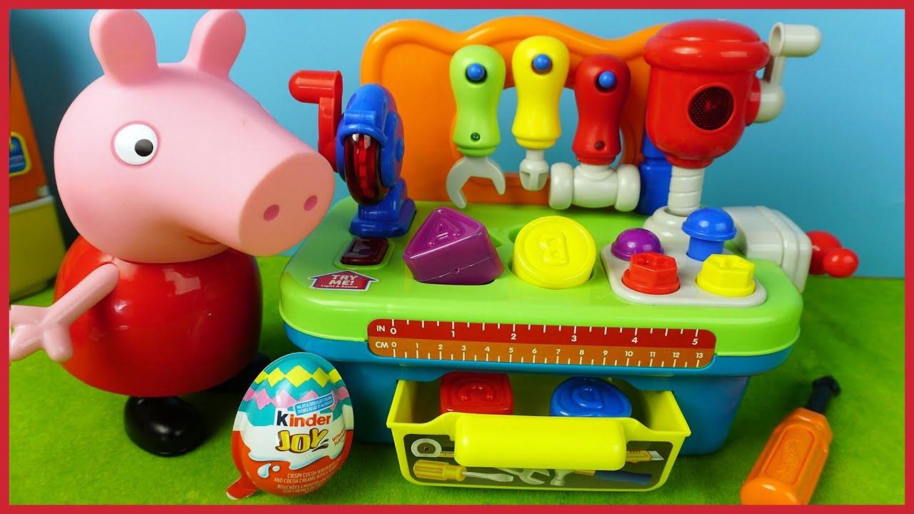 佩佩豬玩可愛的電動工具箱玩具