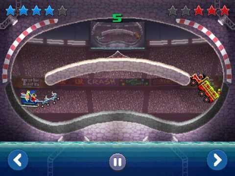 Drive Ahead! Replay: Santa's sleigh vs. Toxic waster truck.
