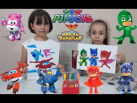 Pijamaskelier ile Harika Kanatlar boyama kapışması. PjmaskS vs Super Wings